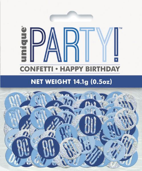 Glitz Blue Age 80 Table Confetti